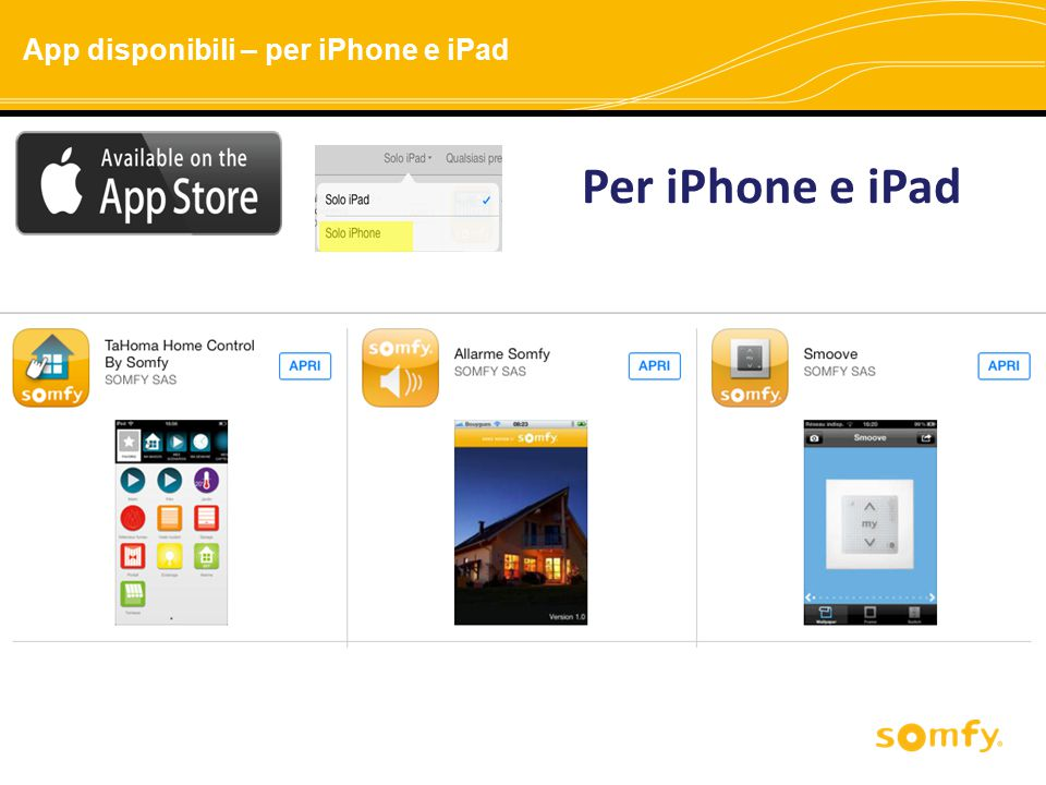 App disponibili – per iPhone e iPad