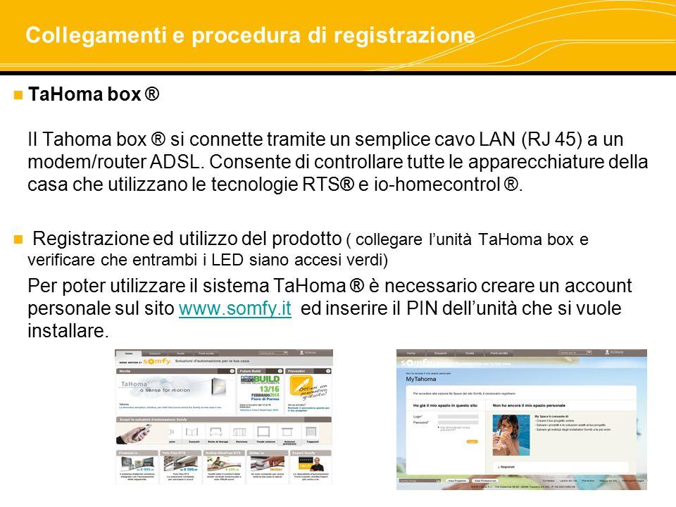Collegamenti e procedura di registrazione
