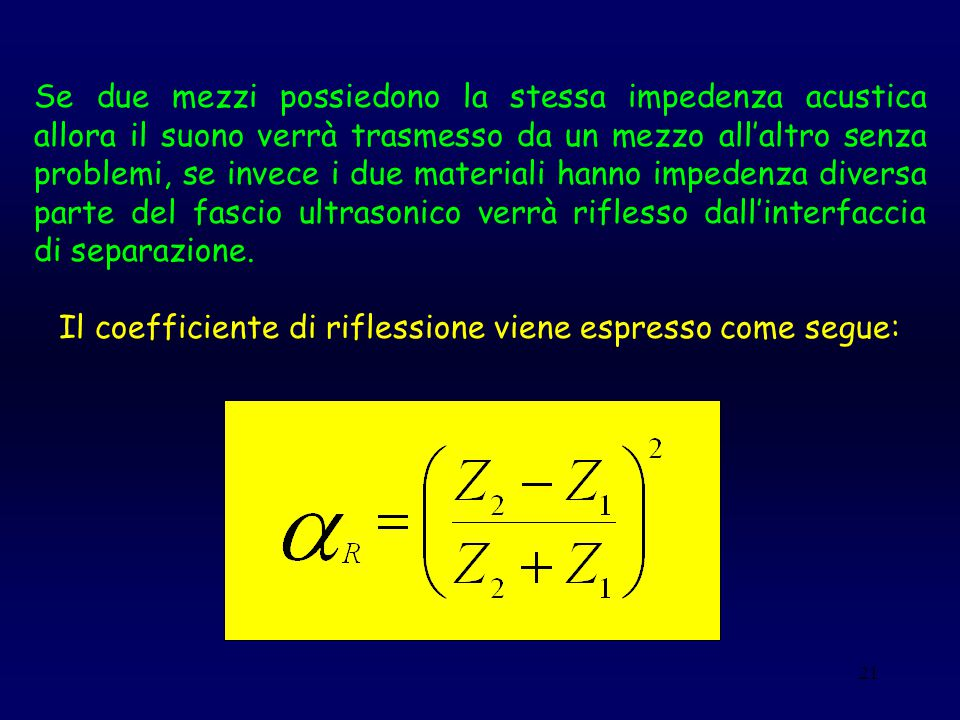 Il coefficiente di riflessione viene espresso come segue: