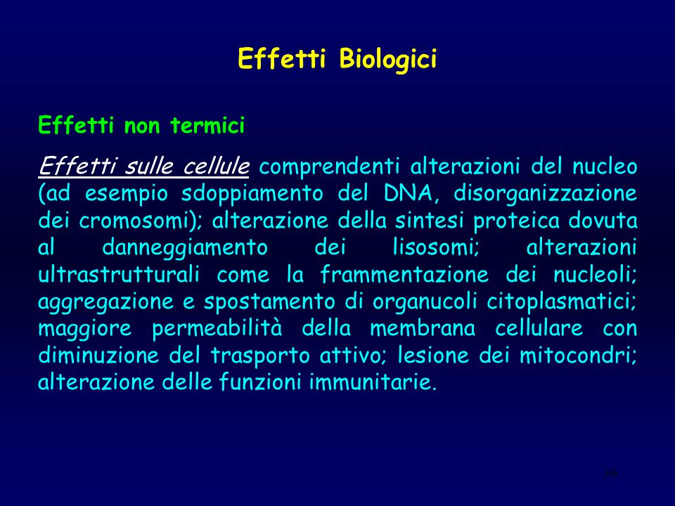 Effetti Biologici Effetti non termici