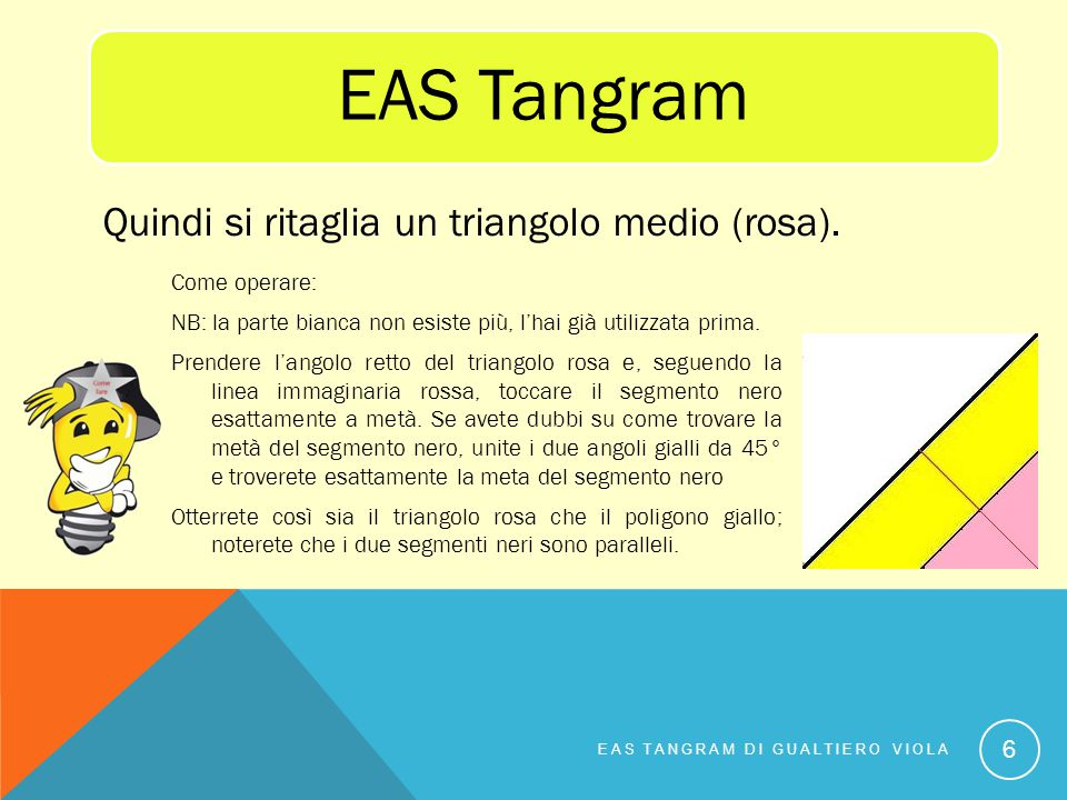 EAS Tangram Quindi si ritaglia un triangolo medio (rosa).