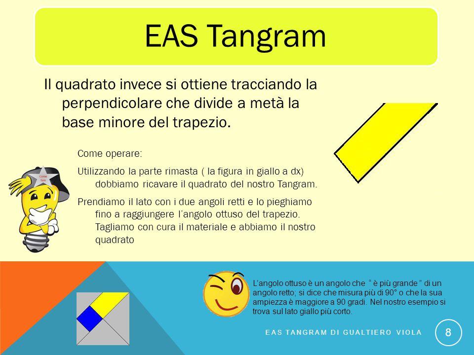 EAS Tangram Il quadrato invece si ottiene tracciando la perpendicolare che divide a metà la base minore del trapezio.