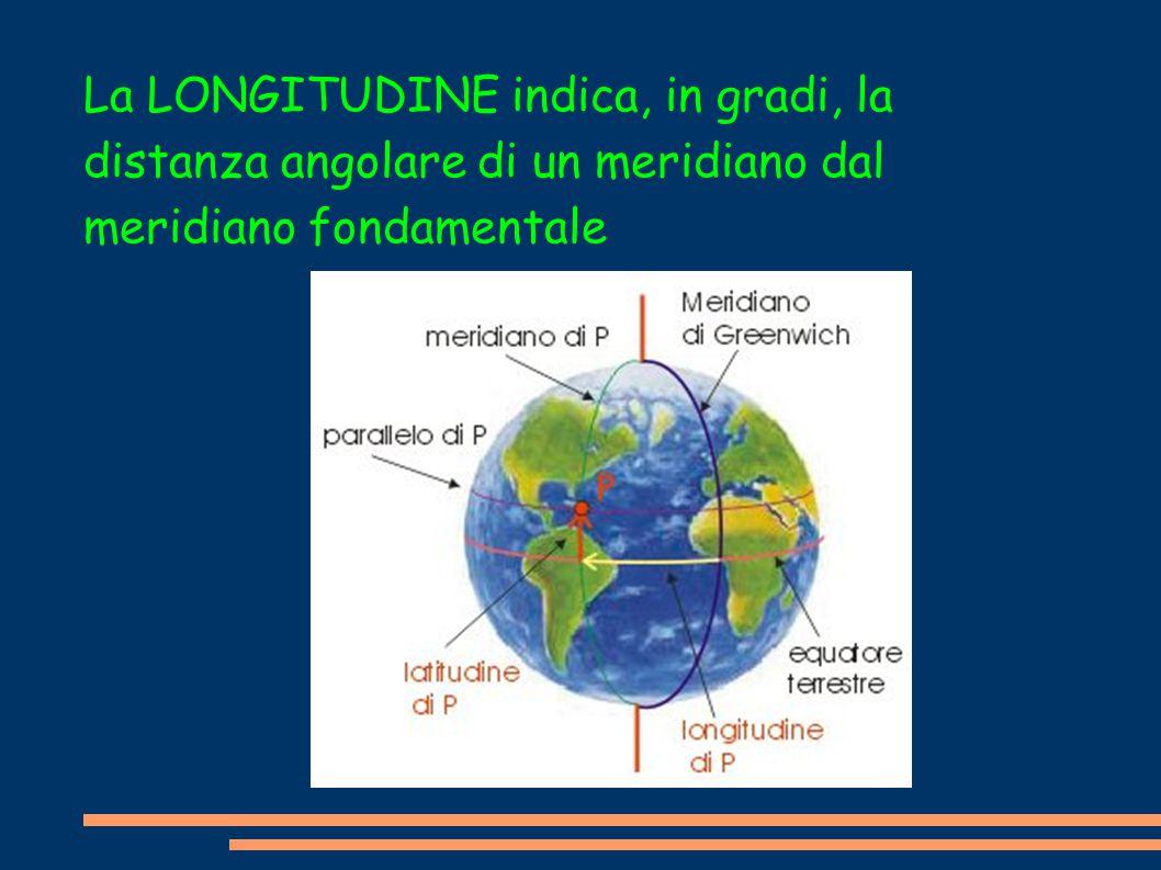 La La LONGITUDINE indica, in gradi, la distanza angolare di un meridiano dal meridiano fondamentale
