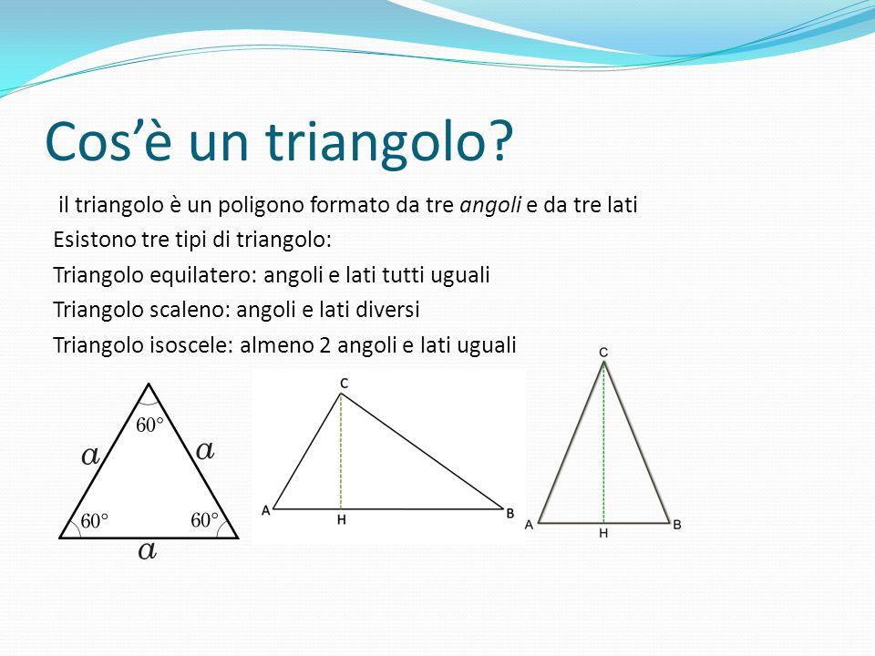 Cos'è un triangolo il triangolo è un poligono formato da tre angoli e da tre lati. Esistono tre tipi di triangolo: