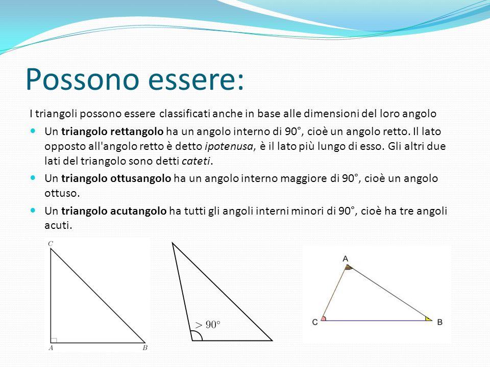 Possono essere: I triangoli possono essere classificati anche in base alle dimensioni del loro angolo.