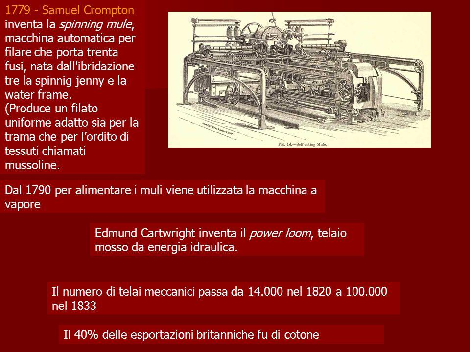 1779 - Samuel Crompton inventa la spinning mule, macchina automatica per filare che porta trenta fusi, nata dall ibridazione tre la spinnig jenny e la water frame.