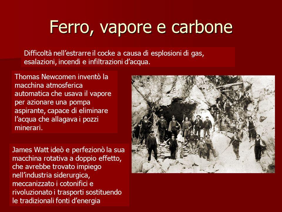 Ferro, vapore e carbone Difficoltà nell'estrarre il cocke a causa di esplosioni di gas, esalazioni, incendi e infiltrazioni d'acqua.