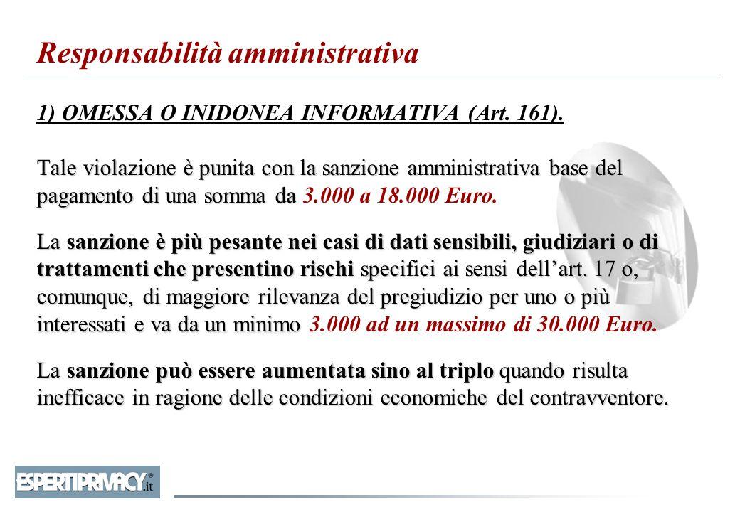 Responsabilità amministrativa 1) OMESSA O INIDONEA INFORMATIVA (Art