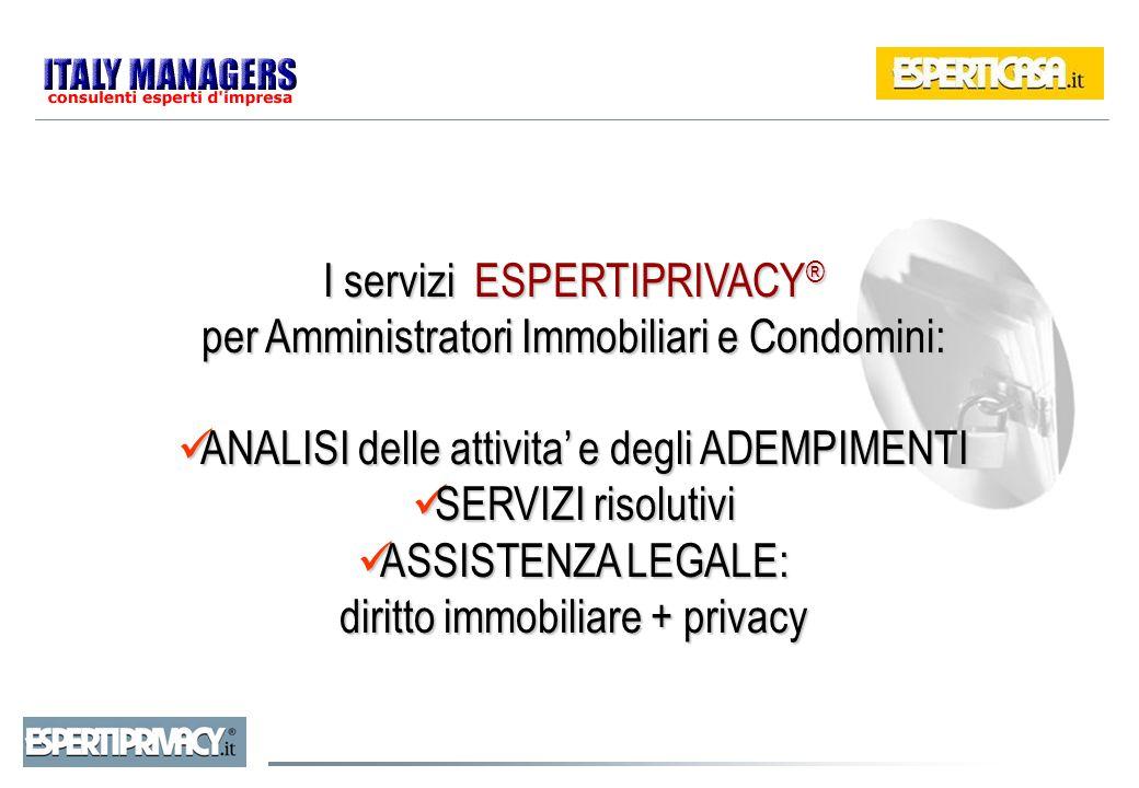 I servizi ESPERTIPRIVACY® per Amministratori Immobiliari e Condomini: