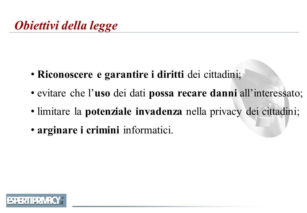 Obiettivi della legge Riconoscere e garantire i diritti dei cittadini;