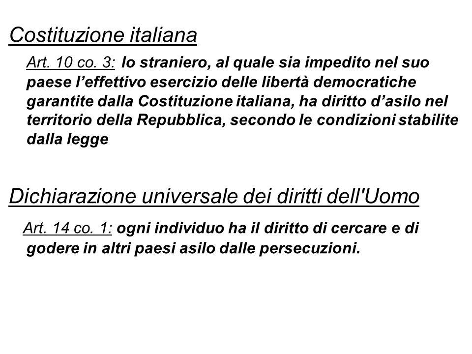 In Italia il diritto di asilo è garantito da: