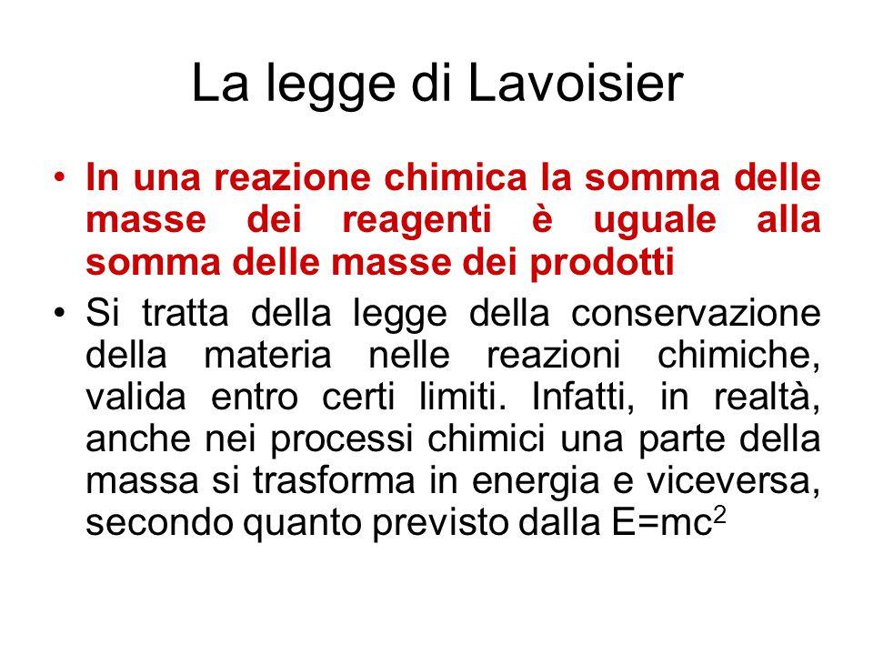 La legge di Lavoisier In una reazione chimica la somma delle masse dei reagenti è uguale alla somma delle masse dei prodotti.