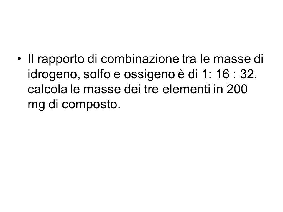 Il rapporto di combinazione tra le masse di idrogeno, solfo e ossigeno è di 1: 16 : 32.