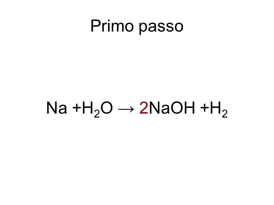 Primo passo Na +H2O → 2NaOH +H2