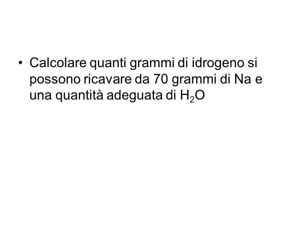 Calcolare quanti grammi di idrogeno si possono ricavare da 70 grammi di Na e una quantità adeguata di H2O