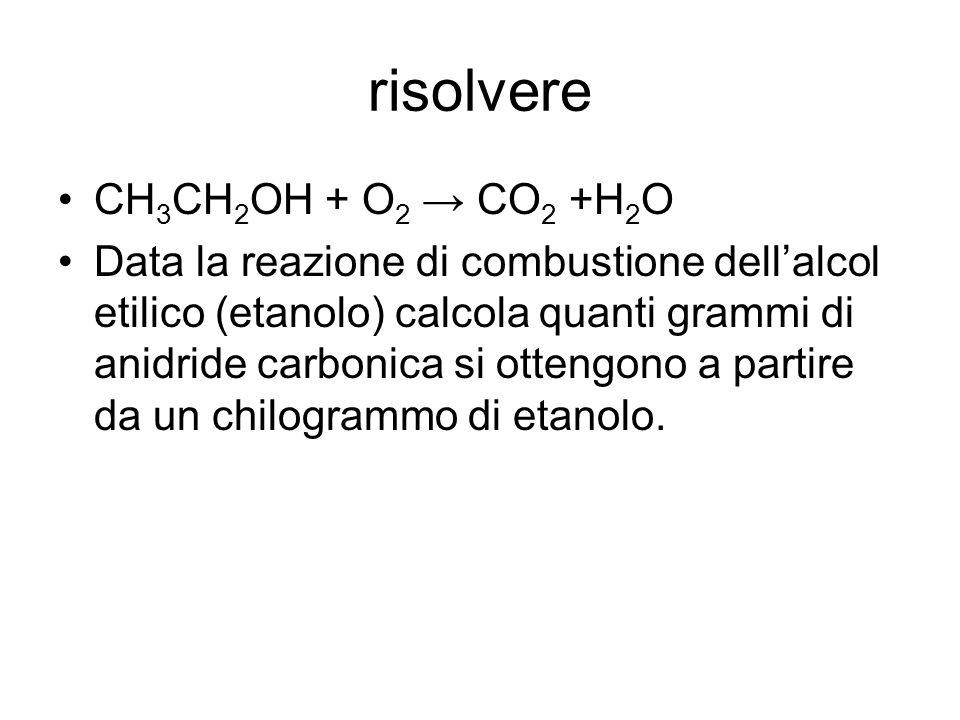 risolvere CH3CH2OH + O2 → CO2 +H2O