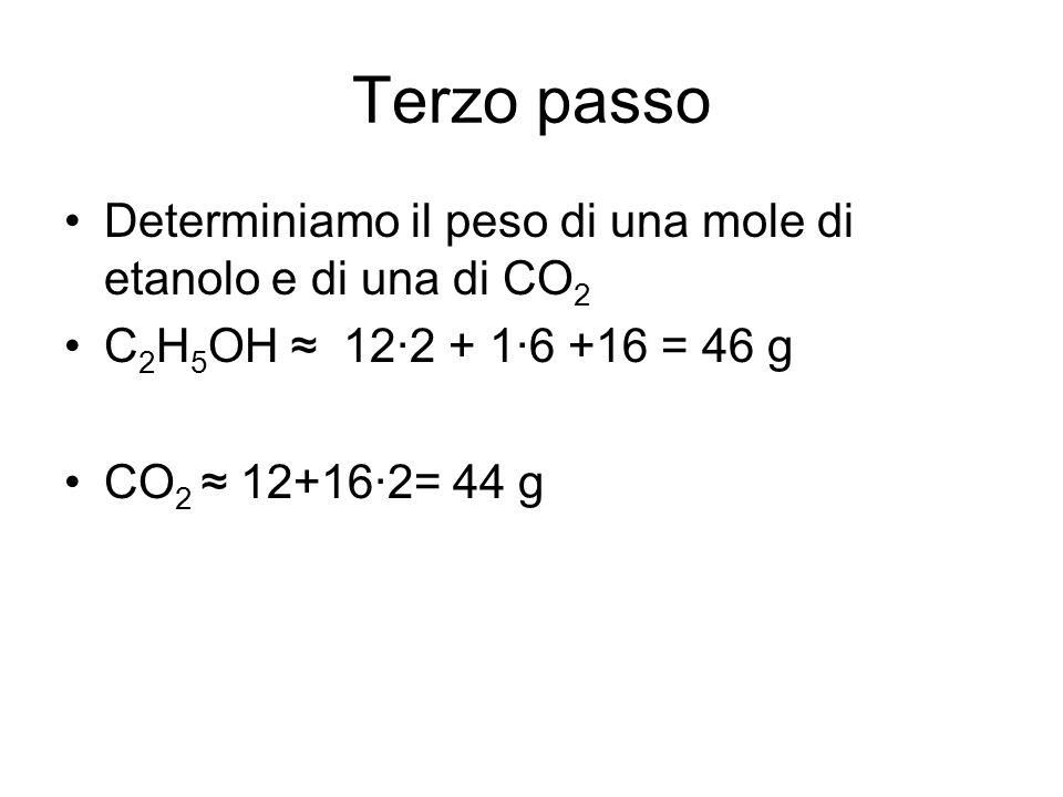Terzo passo Determiniamo il peso di una mole di etanolo e di una di CO2. C2H5OH ≈ 12·2 + 1·6 +16 = 46 g.
