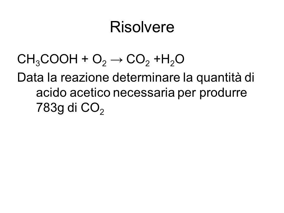 Risolvere CH3COOH + O2 → CO2 +H2O