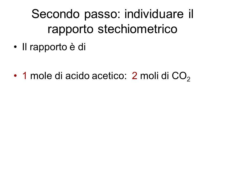 Secondo passo: individuare il rapporto stechiometrico