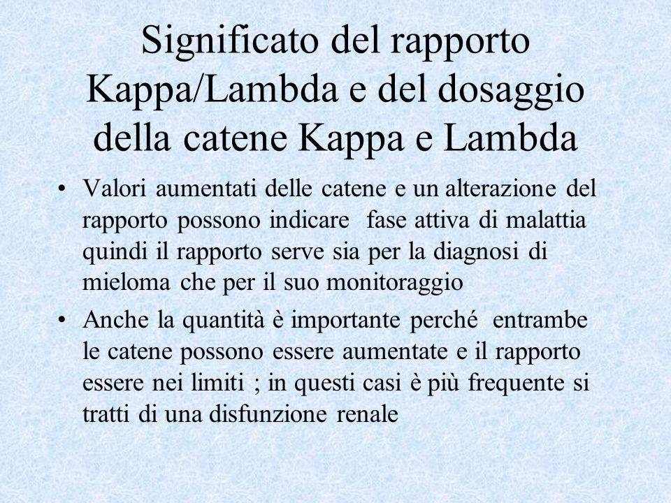 Significato del rapporto Kappa/Lambda e del dosaggio della catene Kappa e Lambda