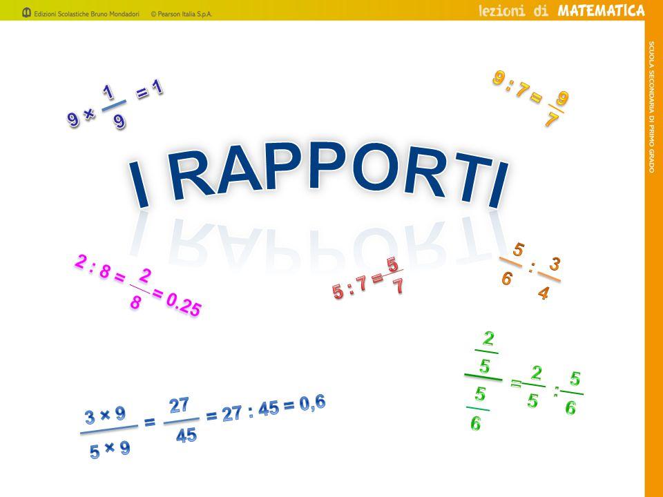 5 : 7 = 5 7 6 3 4 : 1 9 × = 1 3 9 5 9 = 27 : 45 = 0,6 = 27 45 2 9 : 7 = I Rapporti