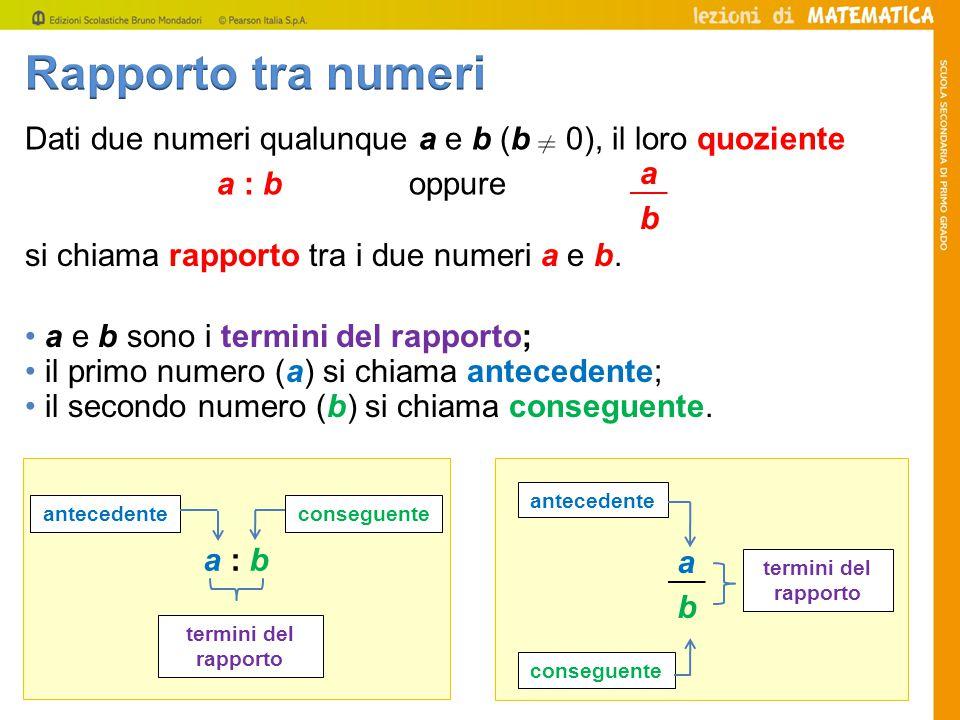 Rapporto tra numeri si chiama rapporto tra i due numeri a e b. a. b. Dati due numeri qualunque a e b (b 0), il loro quoziente.