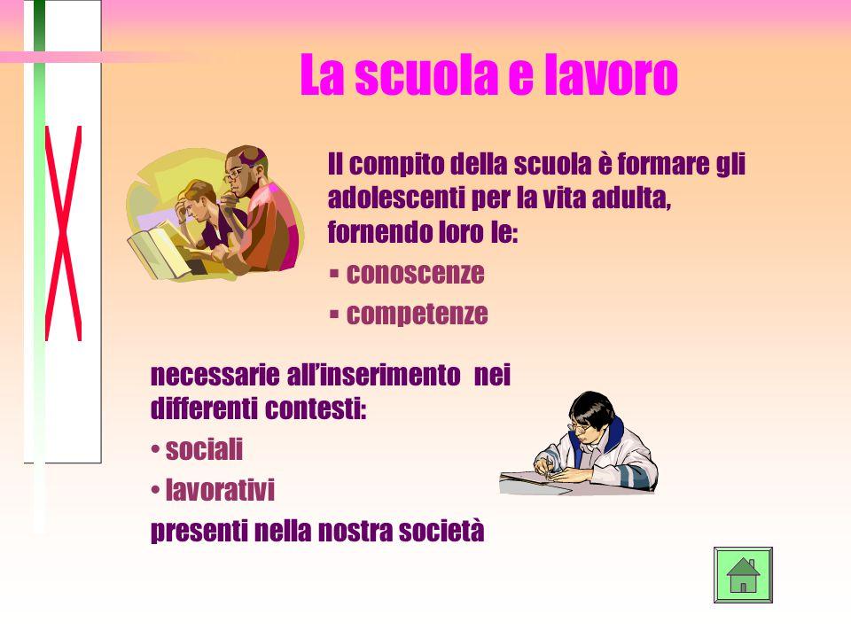 BERTOLETTI MONICA CLASSE 2^C. La scuola e lavoro. Il compito della scuola è formare gli adolescenti per la vita adulta, fornendo loro le: