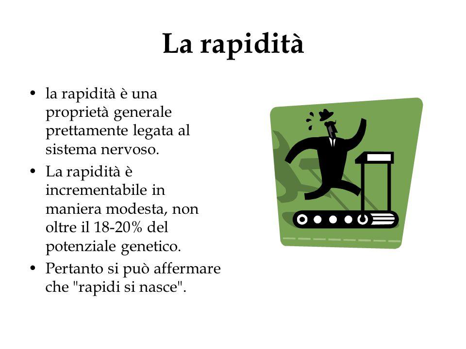 La rapidità la rapidità è una proprietà generale prettamente legata al sistema nervoso.