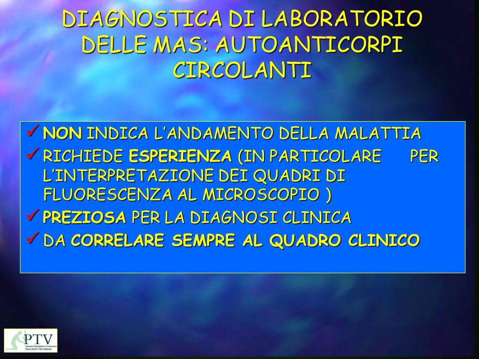 DIAGNOSTICA DI LABORATORIO DELLE MAS: AUTOANTICORPI CIRCOLANTI