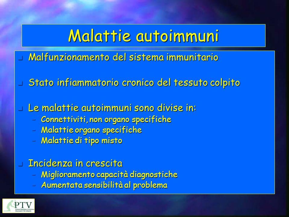 Malattie autoimmuni Malfunzionamento del sistema immunitario