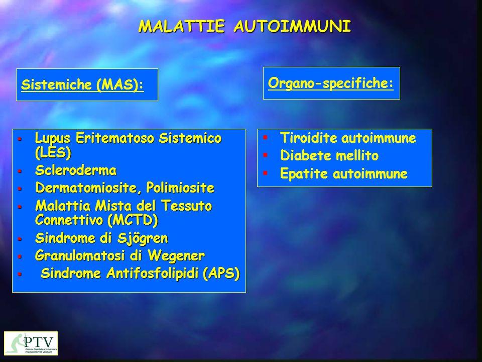 MALATTIE AUTOIMMUNI Sistemiche (MAS): Organo-specifiche:
