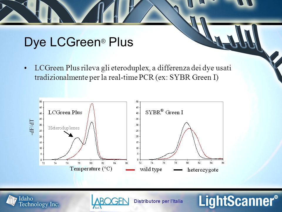 Dye LCGreen® Plus LCGreen Plus rileva gli eteroduplex, a differenza dei dye usati tradizionalmente per la real-time PCR (ex: SYBR Green I)