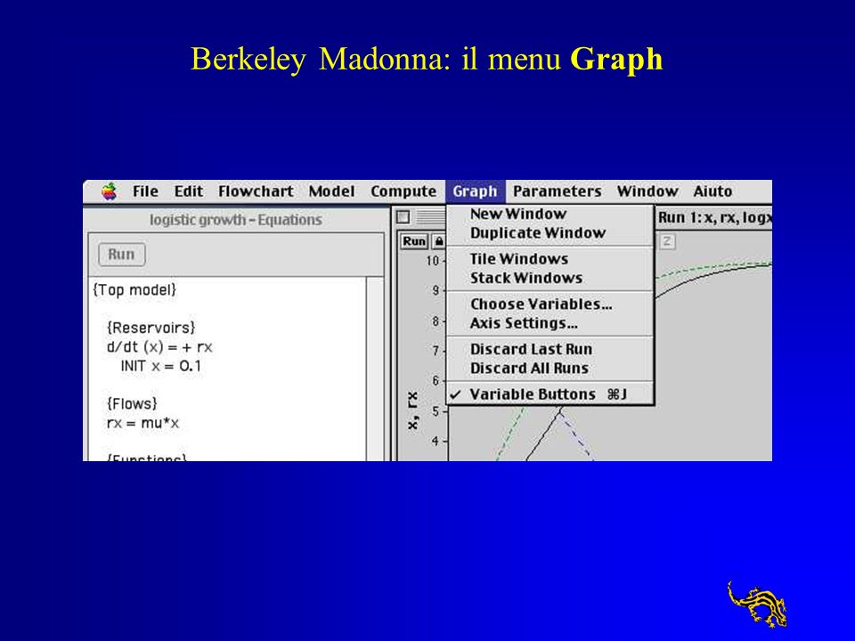 Berkeley Madonna: il menu Graph