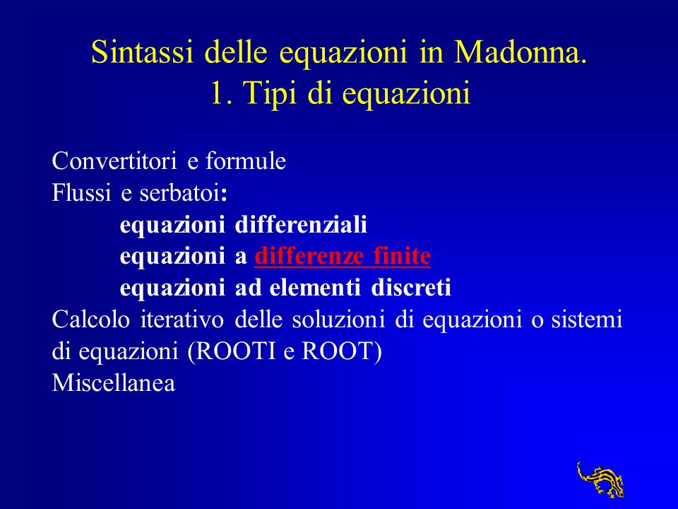 Sintassi delle equazioni in Madonna. 1. Tipi di equazioni