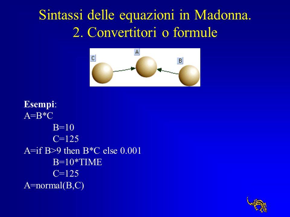 Sintassi delle equazioni in Madonna. 2. Convertitori o formule