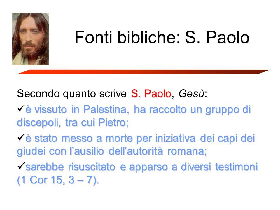 Fonti bibliche: S. Paolo