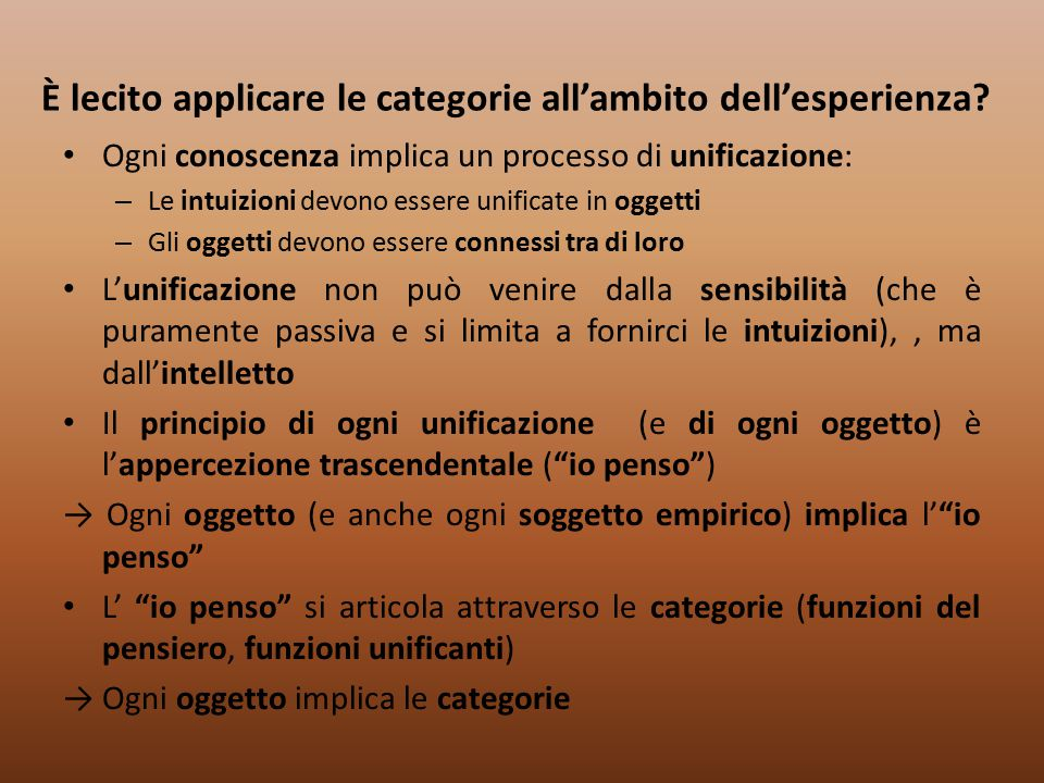 È lecito applicare le categorie all'ambito dell'esperienza