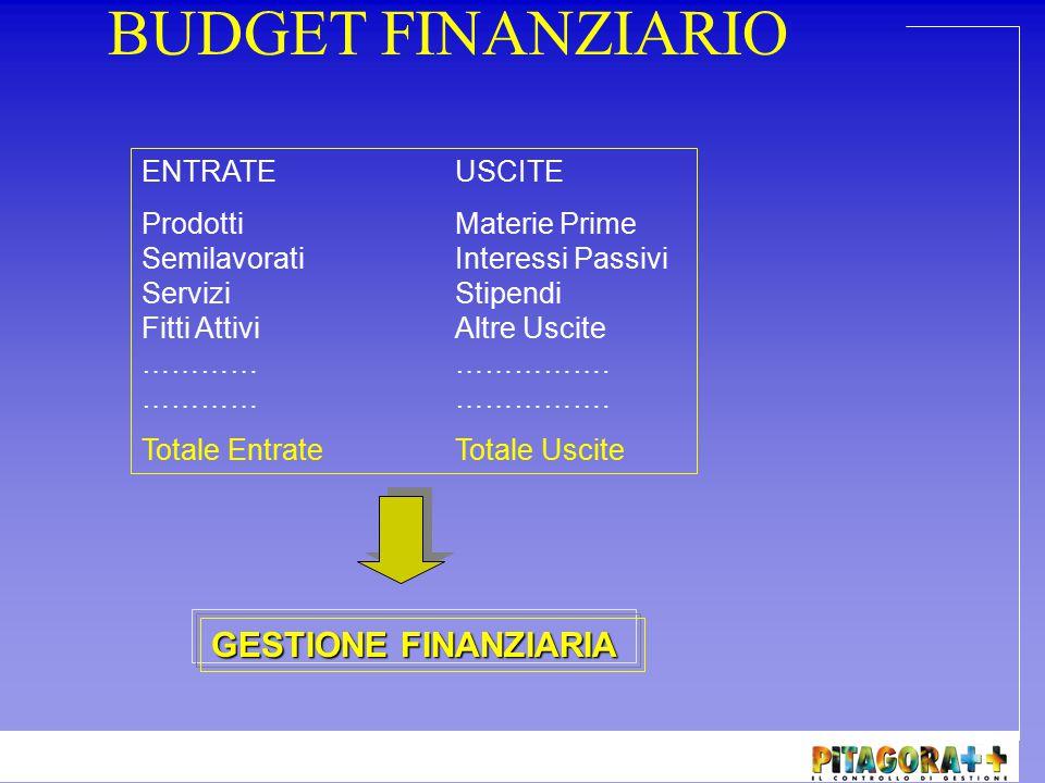 BUDGET FINANZIARIO GESTIONE FINANZIARIA ENTRATE USCITE