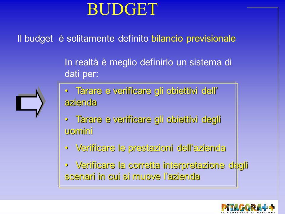 BUDGET Il budget è solitamente definito bilancio previsionale