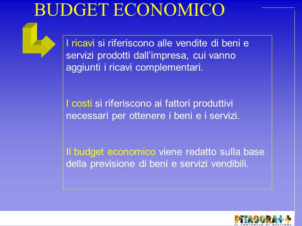 BUDGET ECONOMICO I ricavi si riferiscono alle vendite di beni e servizi prodotti dall'impresa, cui vanno aggiunti i ricavi complementari.
