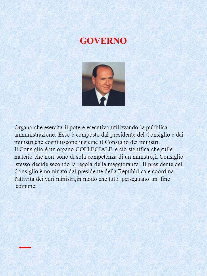 GOVERNO Organo che esercita il potere esecutivo,utilizzando la pubblica.