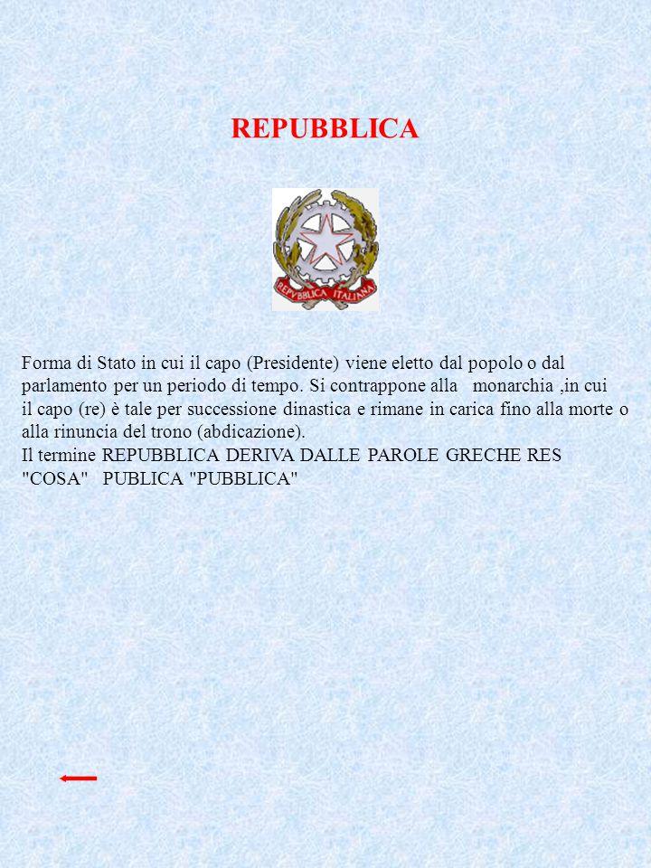 REPUBBLICA Forma di Stato in cui il capo (Presidente) viene eletto dal popolo o dal.