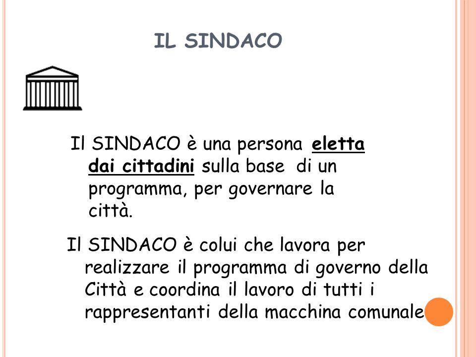 IL SINDACO Il SINDACO è una persona eletta dai cittadini sulla base di un programma, per governare la città.