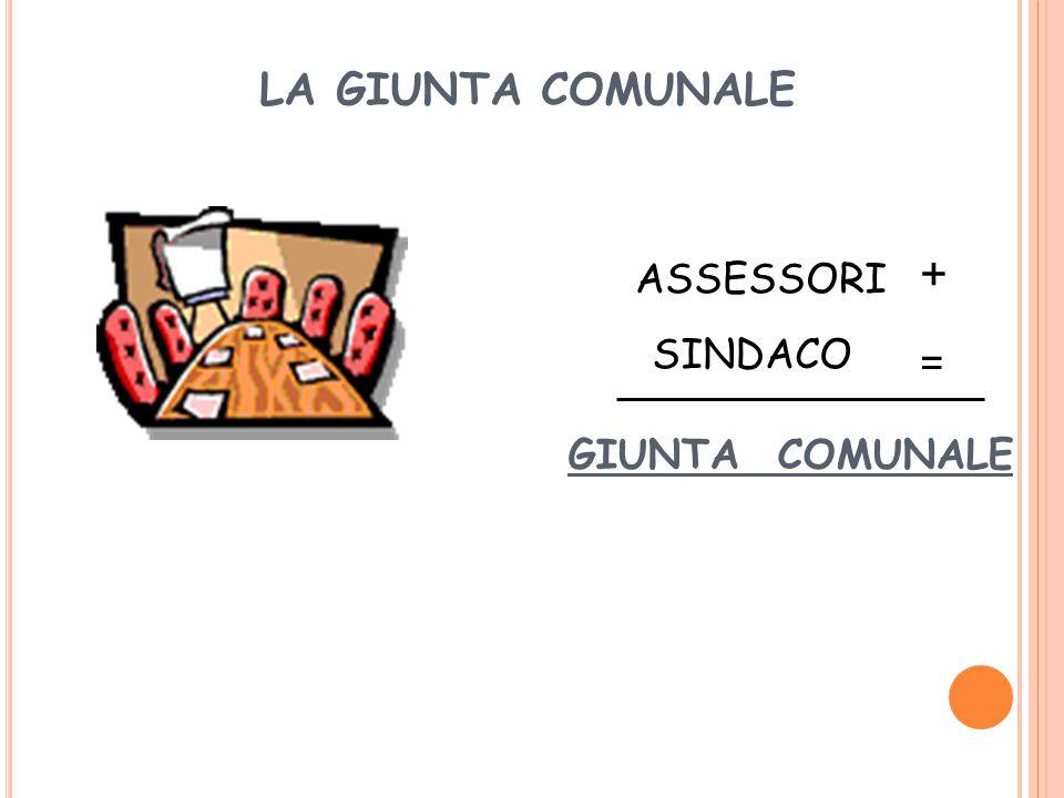 LA GIUNTA COMUNALE + ASSESSORI SINDACO = GIUNTA COMUNALE