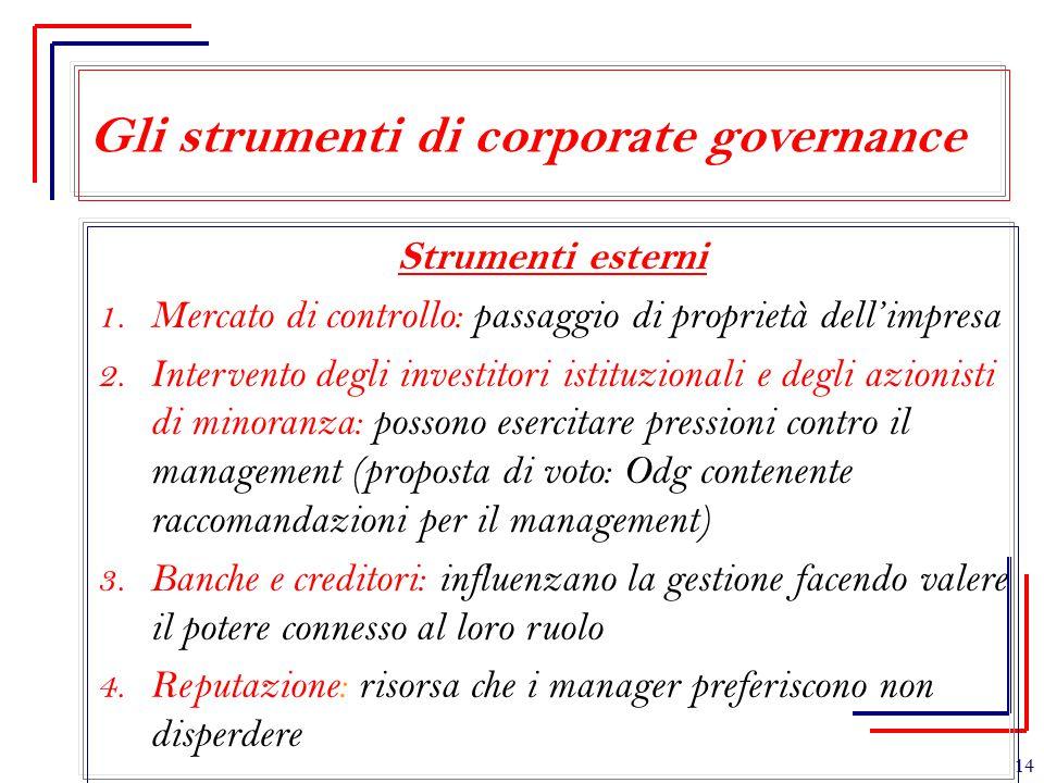 Gli strumenti di corporate governance