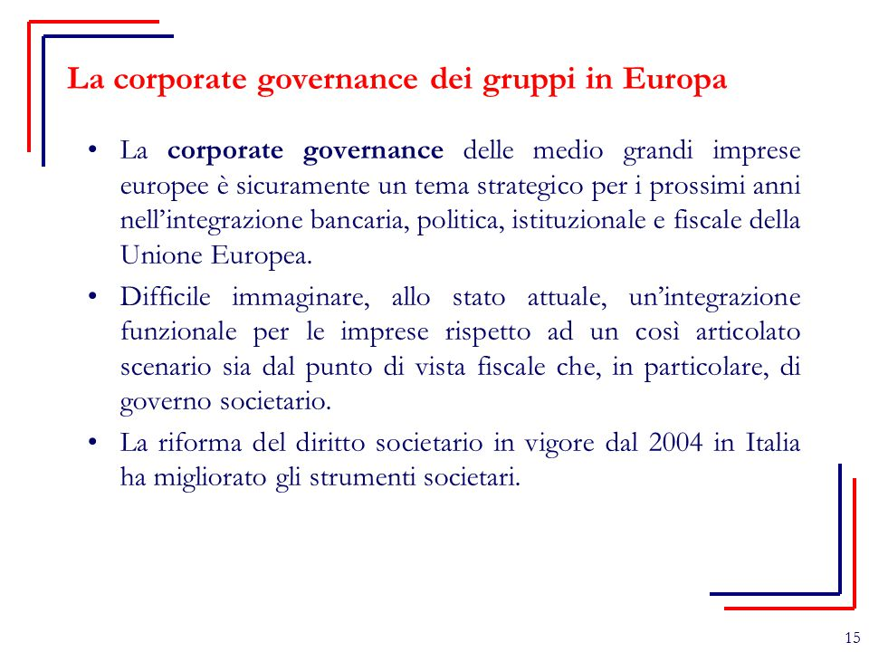 La corporate governance dei gruppi in Europa