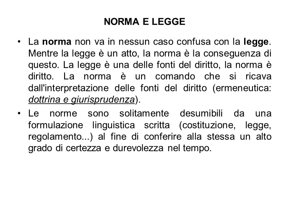 NORMA E LEGGE