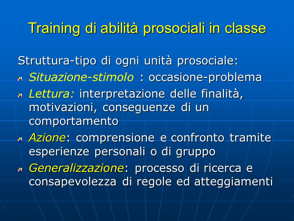 Training di abilità prosociali in classe