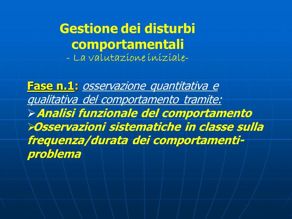 Gestione dei disturbi comportamentali - La valutazione iniziale-
