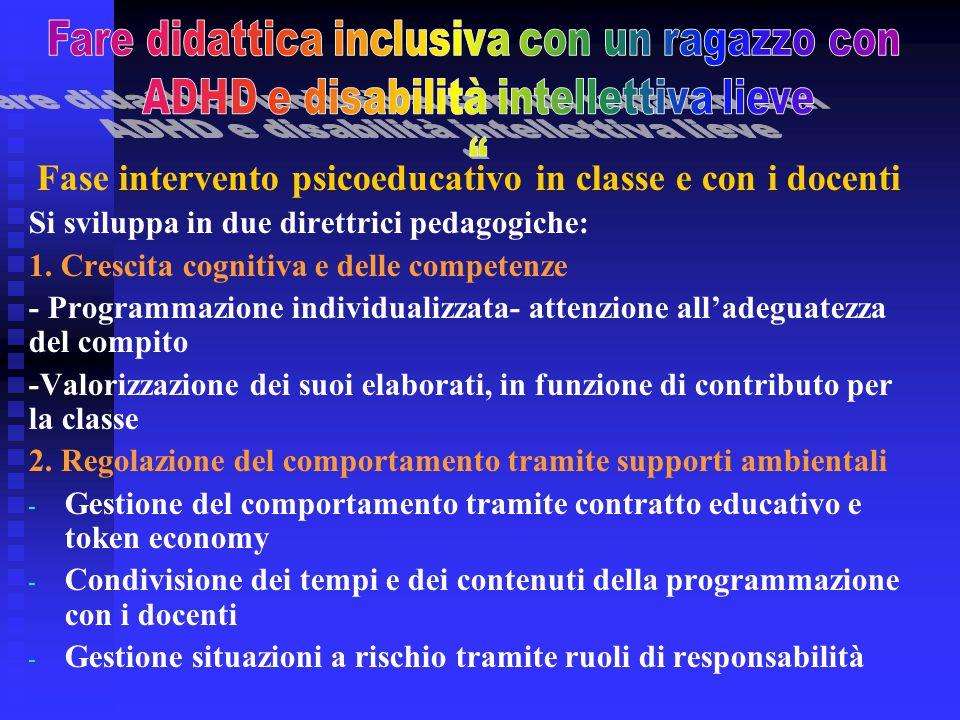 Fase intervento psicoeducativo in classe e con i docenti